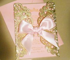 Laser Cut Pink & Gold Princess Themed Baby by YesUMaystationery