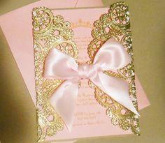 Laser Cut Pink & Gold Princess Themed Baby by YesUMaystationery