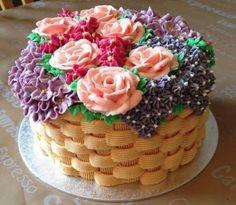 pastel para el dia de la madre en forma de canasta