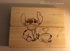 Walt Disney Stitch pyrography wall decor / Coffee lovers decor / Disney coffee…