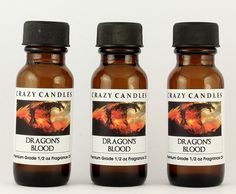 Dragon's Blood (natural herb, earthy, masculine aroma spice, dark woods and mystery) 3 Bottles 1/2 FL Oz Each (15ml) Premium Grade Scented Fragrance Oil by Crazy Candles ** Can't believe it's available, see it now : aromatherapy oils