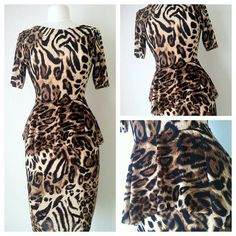 Leopard Peplum Dress, XS to 3X. $30.00, via Etsy.