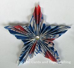 Pleated star for Fourth of July / Independence Day. Add to card or hang as an ornament. Paper Medallions, Mistletoe And Wine, Star Diy, 3d Star, Paper Rosettes, Christmas Crafts, Christmas Ornaments, Christmas Décor, Weird Gifts