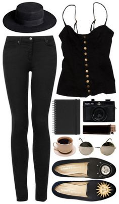 all black skinny jeans pants + buttons tank + hat + flats + sunglasses | mid summer style