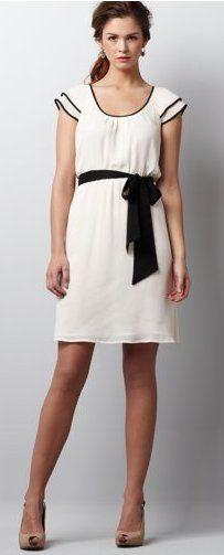 Tipped Flutter Sleeve Dress by Ann Taylor Loft. $59.99- Love this dress. Class A-line fit. Great length!