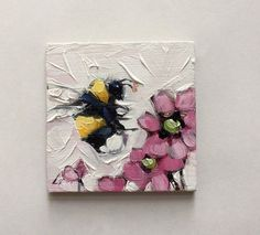 Reserved for Kinzie. Bumblebee painting Tiny original by LaveryART