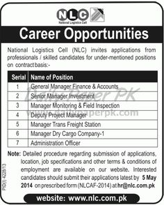 Jobs In Nlc National Logistics Cell Rawalpindi For Details And How