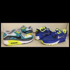 Nike Air Max Lunar 90 White/Turbo Green/Black Nike Air Max 90 Hyper Cobalt/Black/Volt/Metallic Silver