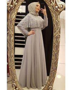 جمال واناقة😍😍😍 by Hijab Prom Dress, Muslimah Wedding Dress, Hijab Evening Dress, Hijab Style Dress, Hijab Wedding Dresses, Muslim Dress, Dress Wedding, Bridesmaid Dress, Islamic Fashion