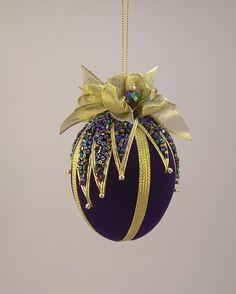 Victorian Inspired Velvet Beaded Egg Christmas by ArtWorksforMusic,