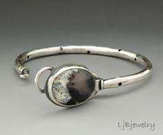 Silver Bracelet, Dendritic  Opal Stone Bracelet, Metalsmith, Gemstone Bracelet, Statement Bracelet, Sterling Silver,