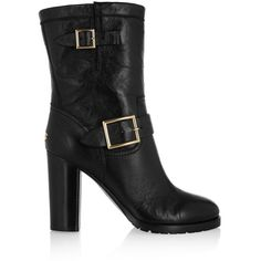 Jimmy Choo Dart buckled leather biker boots (£348) ❤ liked on Polyvore featuring shoes, boots, jimmy choo, chunky-heel boots, black moto boots, leather high heel boots, black buckle boots and black biker boots