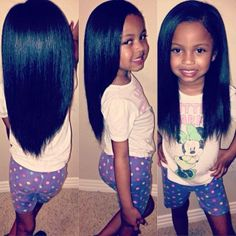 Beautiful little girl with very long hair
