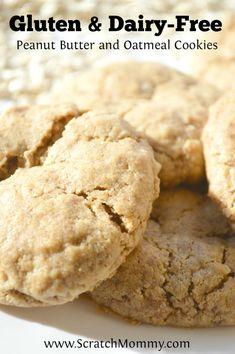 Gluten and Dairy Free Peanut Butter and Oatmeal Cookies