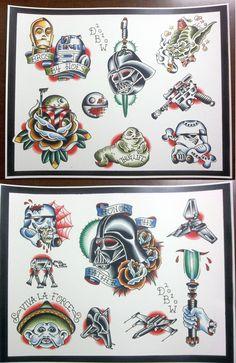 Star Wars Themed Tattoo Flash Set. $20.00, via Etsy.