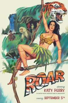 Katy Perry Unveils Tarzan Themed 'Roar' Poster To Confirm Music Video Premiere Katy Perry Wallpaper, Katy Perry Fotos, Leopard Print Bikini, Pop Singers, Cultura Pop, Her Music, Models, Album Covers, Pop Culture