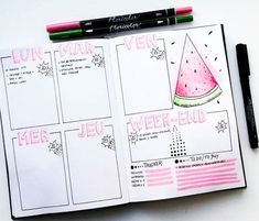 Pink Bullet Journal Spreads Watermelon