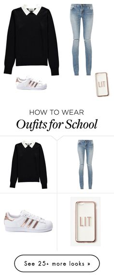 """""""School"""" by anniekteuben on Polyvore featuring Essentiel, Yves Saint Laurent, adidas and Missguided"""