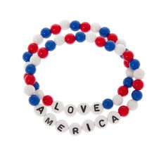 Stars and Stripes Love America Beaded Bracelets Set of 2   Claire's