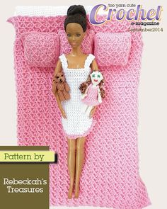 Awesome crochet doll bedding pattern by Rebekah's Treasures, coupon code for 10% discount included in link