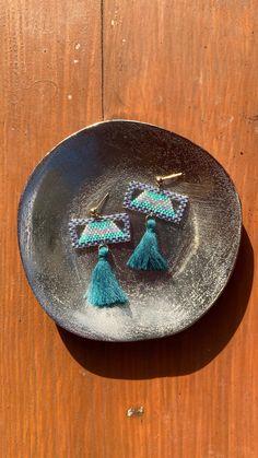 Chubbeadrings Shiny Festive Teal Tassels Beaded Earrings By Chubbeadrings by chubbybeadedearrings on Etsy