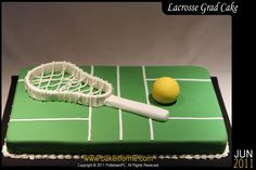 Lacrosse+Graduation+Cake+-+Nothing+special+here,+Lacrosse+Graduation+Cake.+Ball+was+made+out+of+Rice+Krispy+treat+covered+in+fondant.+The+stick+was+made+out+of+gumpaste.