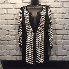 SALE! Nic + Zoe long cardigan Black and white Nic+Zoe cardigan. Size XL, will also fit a size large even a medium. I think this runs small. Only worn once. Perfect condition.      NO TRADES/ PAYPAL ✔DON'T ASK FOR MY LOWEST PRICE, PLEASE USE OFFER BUTTON ❤️BUNDLE TO SAVE! ⏳I ONLY HOLD ITEMS FOR 24 HOURS Anthropologie Sweaters Cardigans