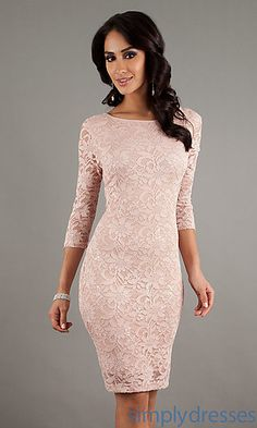 Short Lace Dress with 3/4 Length Sleeves at SimplyDresses.com  Very pretty and classy