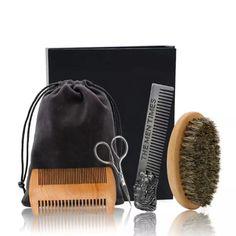 Set pentru aranjarea barbii din 4 piese – The man times Beard Grooming, Grooming Kit, Thin Beard, Professional Beard, Shears Scissors, Beard Brush, Shaving Set, Barbie, Beard Care
