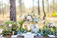 Beautiful romantic woodland tablescape. Event Design & Planning by Fleur De Lis Event Consulting, Photography by The Veil Wedding Photography