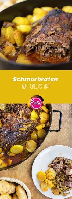 Würziger Rinderschmorbraten mit Bohnen und Kartoffeln aus dem Ofen.