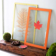 Frame Your Fall - Gather a few fall leaves from your garden and turn them into works of art. Press your leaves between a glass frame and display them on your mantle all year-round.