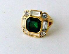 Avon Goldtone Clear Crystal Faux Emerald Ring by ediesbest on Etsy, $12.95