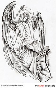 Angel With Dagger Tattoo Design Angel Tattoo Meaning, Fallen Angel Tattoo, Guardian Angel Tattoo, Angel Tattoo Designs, Demon Tattoo, Dagger Tattoo, St Micheal Tattoo, Angel Outline, Lion Head Tattoos