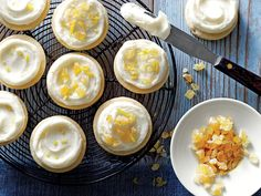 sl-Ginger Shortbread Cookies with Lemon-Cream Cheese Frosting Image Leap for Spring with Ginger Shortbread Cookies. Look for minced crystallized ginger at your local grocery on the bottled spice aisle. Lemon Dessert Recipes, Lemon Recipes, Frosting Recipes, Bar Recipes, Sweet Recipes, Easy Holiday Desserts, Sweet Desserts, Just Desserts, Holiday Baking