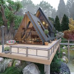 Photo by S H I Z 💋 on April La imagen puede contener: árbol y exterior A Frame House Plans, A Frame Cabin, Shed House Plans, Tiny House Cabin, Cabin Homes, Shed Homes, Tiny Houses, Cob Houses, Cabin Design