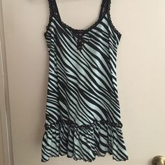 Betsey Johnson intimate NWOT Lacey straps with ruffle bottom. Light blue with black zebra stripes. Betsey Johnson Intimates & Sleepwear Chemises & Slips