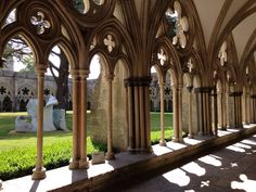 Salisbury Cathedral in Salisbury, Wiltshire Salisbury Wiltshire, Salisbury Cathedral, The Cloisters, Historical Monuments, Middle Ages, Castles, Places Ive Been, Craftsman, Medieval
