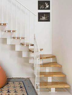 Architecture: Attractive Minimalist Birch Wooden Space Saver Loft Staircase Design With White Color Railings Staircase And Awesome Motive Rug Area, Exciting Space Saver Staircase For Small Space Design Ideas. 600x800 pixels