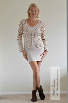 Outstanding Crochet: Beige Cardigan. With all the diagrams at source Nice!