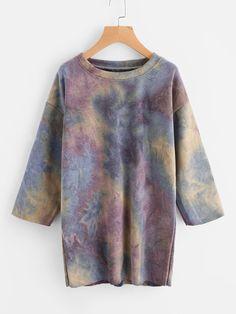80acebe38a7 Shop Water Color Sweatshirt Dress online. SheIn offers Water Color  Sweatshirt Dress  amp  more