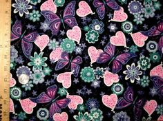 3 Yards Butterfly Hearts Cotton Fabric Pink, lavender, Teal On Black FABRIC RARE Ships Free