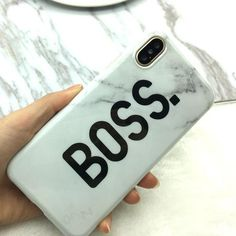 ROX Jewelry - Accessories for Charity - STROLLIFE Luxury Glossy Marble Phone Cases For iphone X case Cartoon Letters Queen & Boss Couple Cover For iphone X