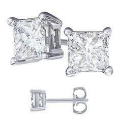 Nickel Free Platinum Rodium Finish Cubic Zirconia Princess Cut 925 Sterling Silver Stud Earrings. 4 Carat Total Weight Princess Cut Cubic Zirconia. 2 Carat Each Stone