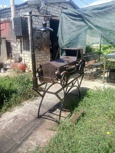Outdoor Chairs, Outdoor Furniture, Outdoor Decor, Wall, Home Decor, Stuff Stuff, Iron, Upcycling, Autos