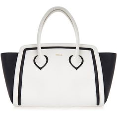 Furla College Black and Off-White Medium Tote Bag ($225) ❤ liked on Polyvore featuring bags, handbags, tote bags, black, leather handbag tote, leather tote purse, leather tote, tote purses and furla handbags