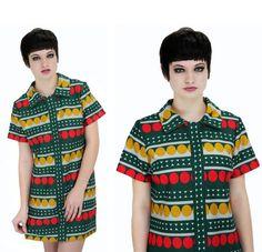 60s MOD Dress Bright OP ART Green Circles 70s Mini