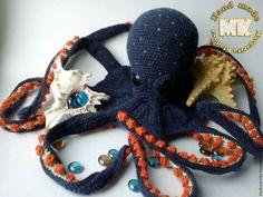 animais de Brinquedo, Feito à Mão.  Mestres justas - artesanal.  Comprar Octopus, crochet.  Handmade.  mar azul escuro