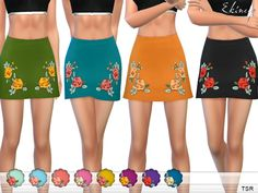 ekinege's Rose Embroidered Mini Skirt