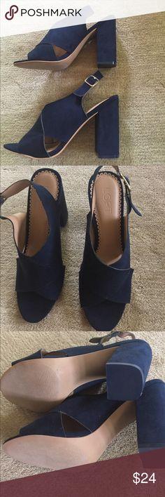 Navy loft suede high heeled sandals Never worn!  Navy loft suede high heeled sandals size 8M.  Criss cross design.  Gold adjustable buckle.  Super cute!  Perfect condition! 4 inch heel. LOFT Shoes Sandals